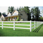 Outdoor Essentials 5 In. x 5 In. x 60 In. White Line 2-Rail Fence Vinyl Post Image 4